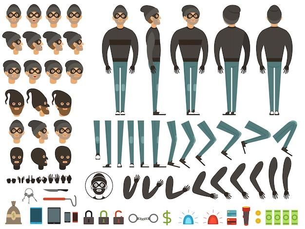 バンディットのマスコットやキャラクターのデザイン。 Premiumベクター