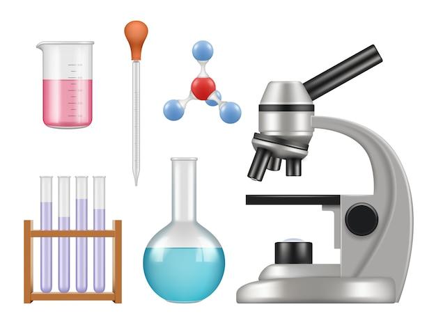 化学実験室のアイテム。科学実験室コレクションボトル顕微鏡ガラスチューブ生物学現実的なツール Premiumベクター