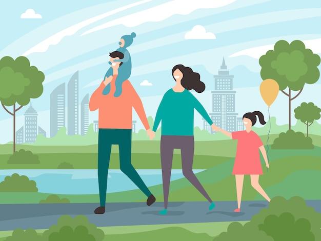 幸せな家族が歩いています。公園を歩いている子供を持つ男性と女性の背景イラスト Premiumベクター
