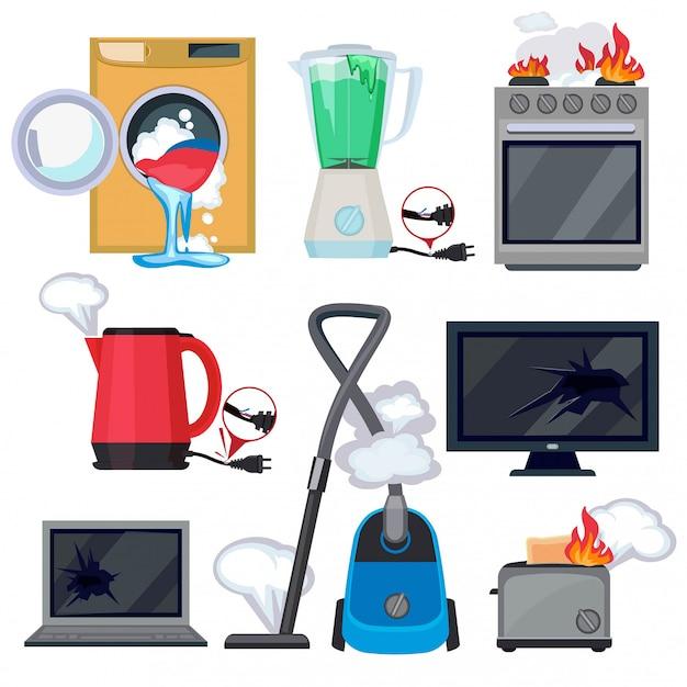 壊れたアプライアンス。損傷キッチンホームアイテムテレビ洗濯機タブレットラップトップベクトル漫画イラスト Premiumベクター