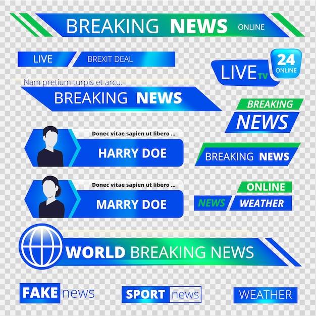 Новостные графические баннеры. ломая телевизионные трансляции спортивные заголовки баннеры векторная графика Premium векторы