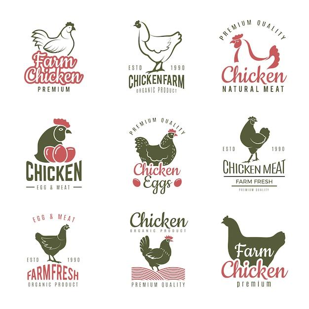 Полло этикетки. фаст-фуд куриные логотипы значки фермы мясо птицы шаблона Premium векторы
