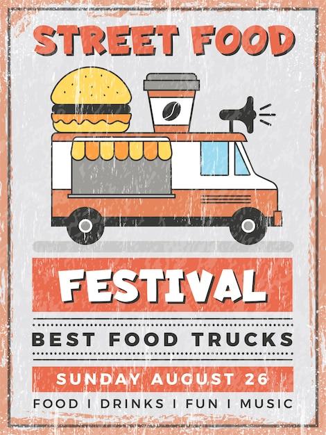Фестиваль уличной еды. кухня в автомобиле мобильный ван открытый быстрого питания доставки вектор винтажный плакат Premium векторы