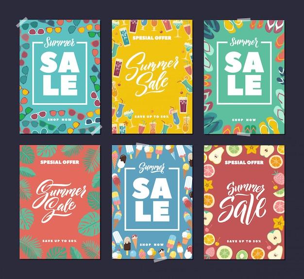 Летняя распродажа. красочные модные баннеры с абстрактным фоном и почерков слова и буквы Premium векторы