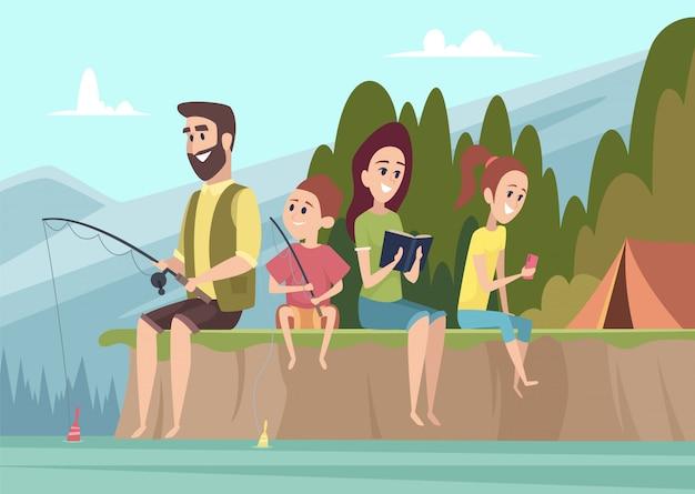 Семейные путешественники. пара на открытом воздухе исследователей дети с родителями походы кемпинг вектор мультфильм фон Premium векторы