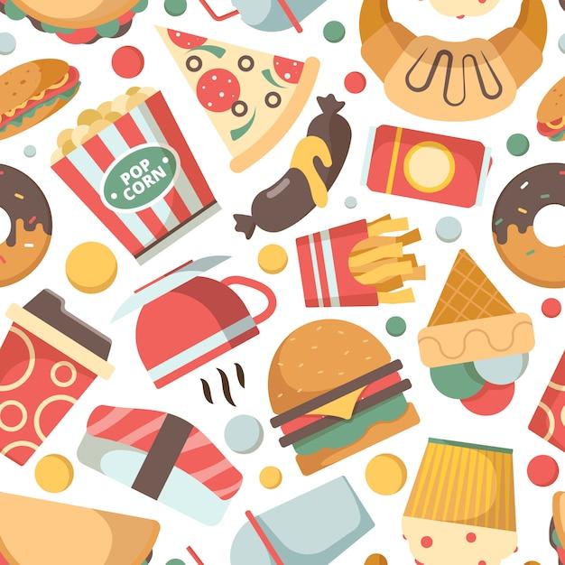 ファーストフードのパターン。レストランメニュー写真ピザハンバーガーアイスクリームサンドイッチ冷たい飲み物スナックベクトルのシームレスな背景 Premiumベクター