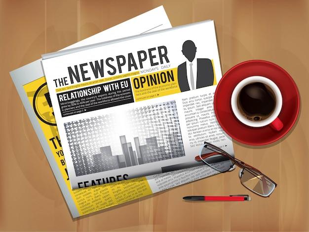 Газета с чашкой кофе. вид сверху обложки журнала или газеты на завтраке с горячим чаем Premium векторы