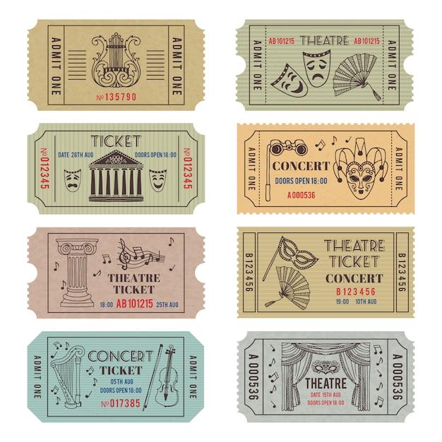 Старинные билеты в театр или кино с разными монохромными символами балета или оперы Premium векторы