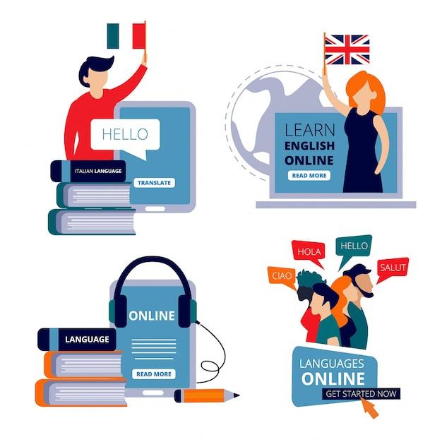 Языковые курсы. изучайте английский язык, изучая китайский итальянский словарь для обучения. Premium векторы