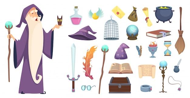 マジシャンツール。魔法使いの魔法の謎のほうきのポーションの魔女の帽子と魔法の本の漫画の写真 Premiumベクター