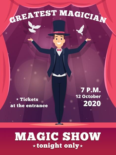 魔法のポスターの招待状。サーカスの魔術師のプラカードテンプレート赤いカーテンショーウィザードのトリックの背景のショー Premiumベクター