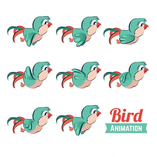 飛んでいる鳥のキーフレームアニメーション。 Premiumベクター