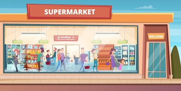 スーパーマーケットのファサード。男性と女性のバイヤーの背景を持つ製品ハイパーマーケットの食料品店で買い物をする人々 Premiumベクター