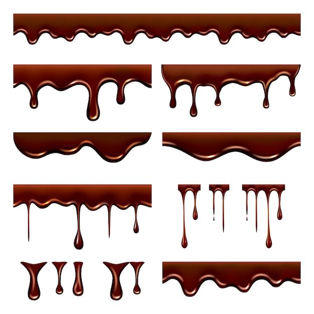 チョコレートが滴りました。水しぶきと滴と甘い流れる液体食品キャラメルカカオリアルな写真 Premiumベクター