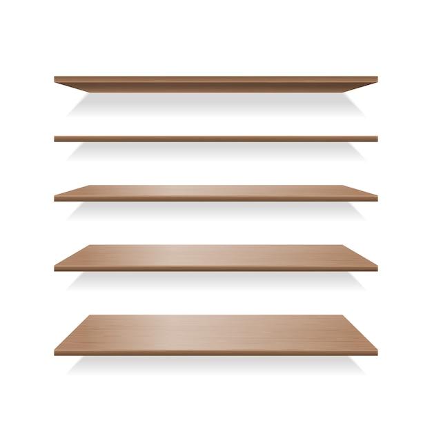 茶色の木の棚の影 Premiumベクター