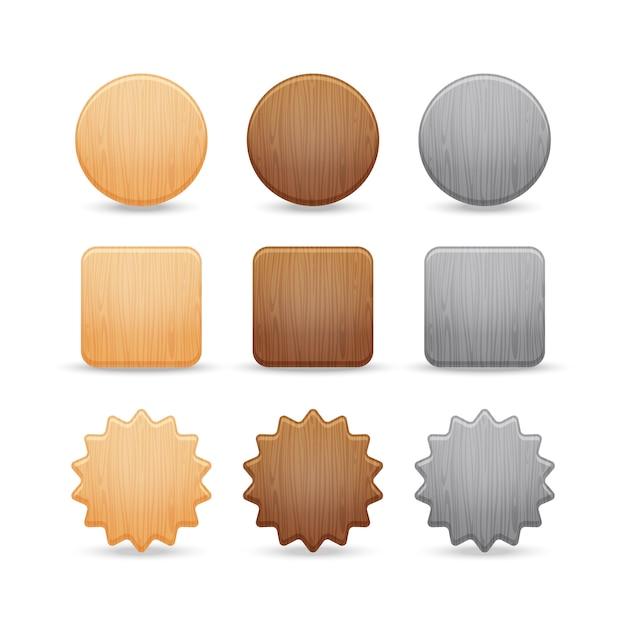 木製のボタンのセット Premiumベクター