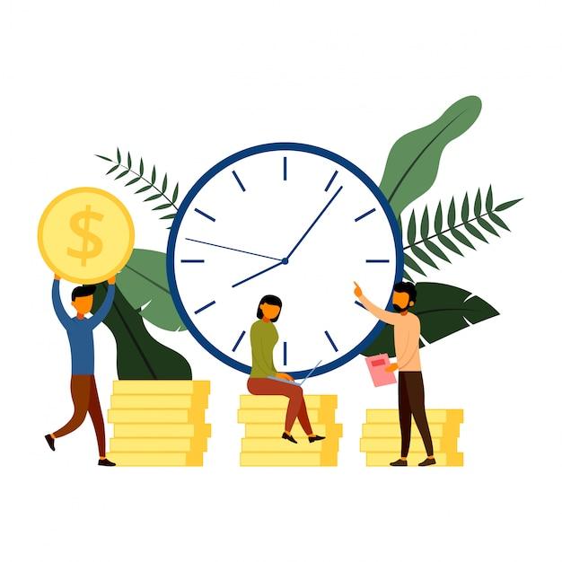 時代は文字、お金、ビジネスおよび管理の概念です Premiumベクター