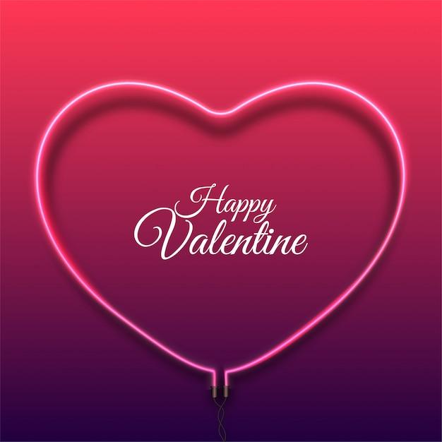 С днем святого валентина фон с ярко-розовым вектором неонового сердца Premium векторы