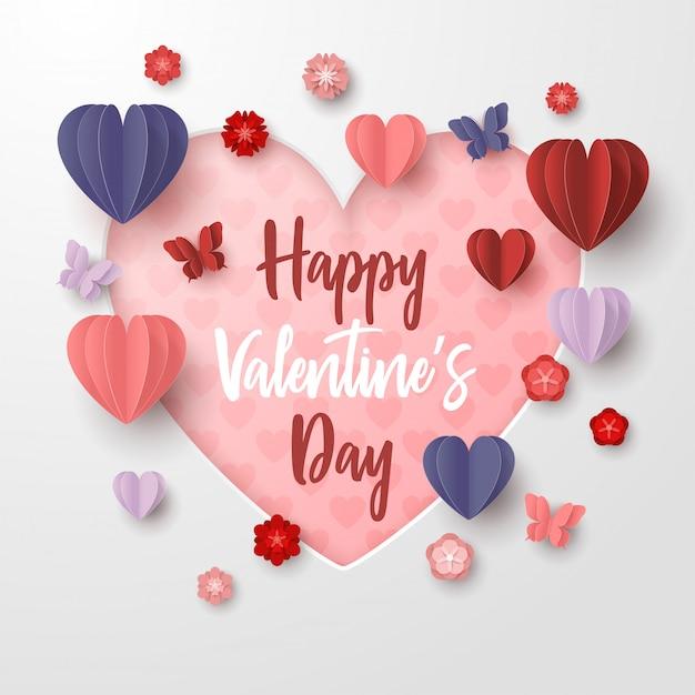幸せなバレンタインデー紙は、白い背景でカラフルなハート形のスタイルをカット Premiumベクター