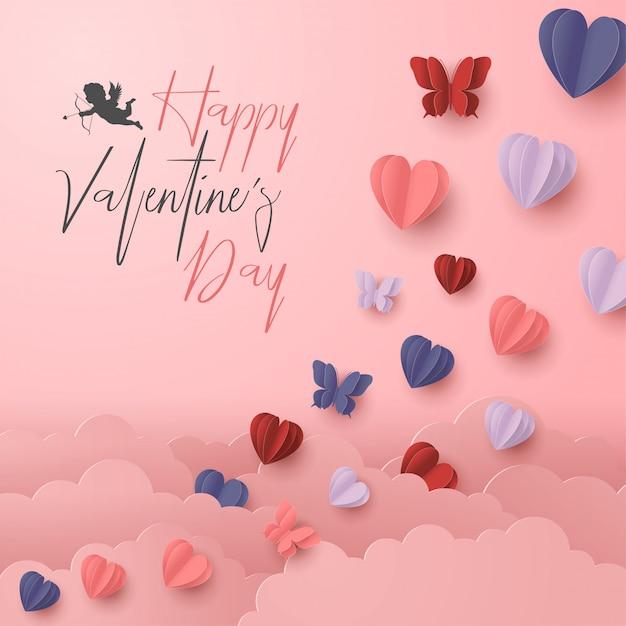 幸せなバレンタインデー紙は、ピンクの背景にカラフルなハート形のスタイルをカット Premiumベクター