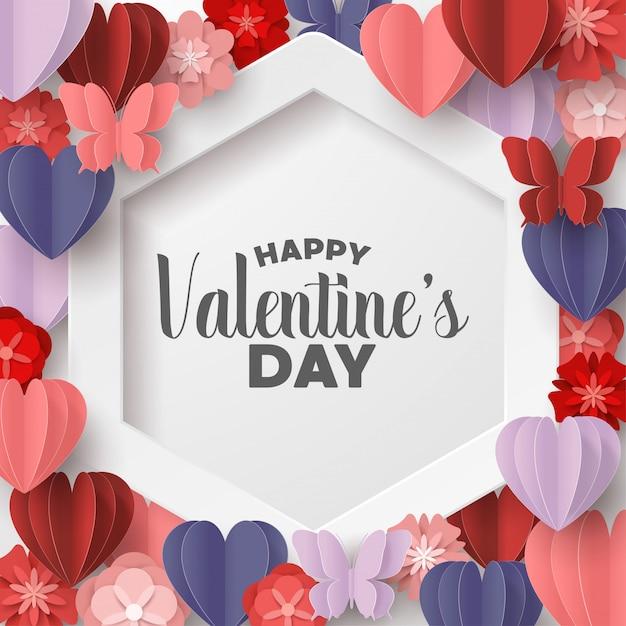 幸せなバレンタインデーの紙はピンクのカラフルなハート形のスタイルをカット Premiumベクター