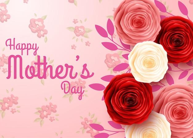 幸せな母の日の花の背景 Premiumベクター