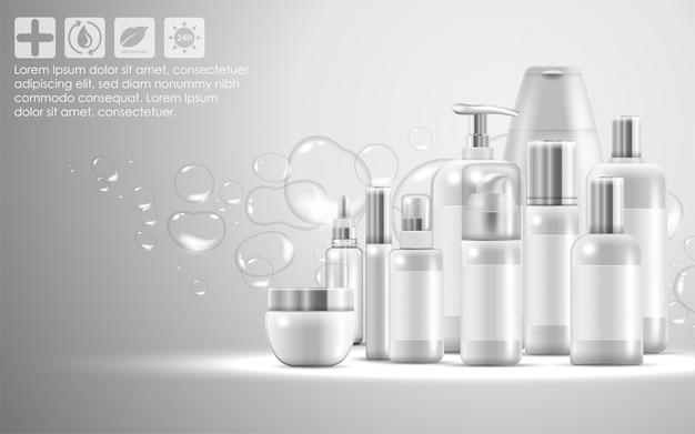 Набор для ухода за кожей натуральной косметики, упаковка продукта Premium векторы