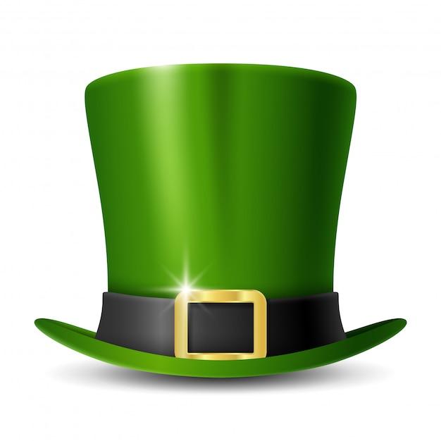 Зеленая шапка лепрекона дня патрика Premium векторы