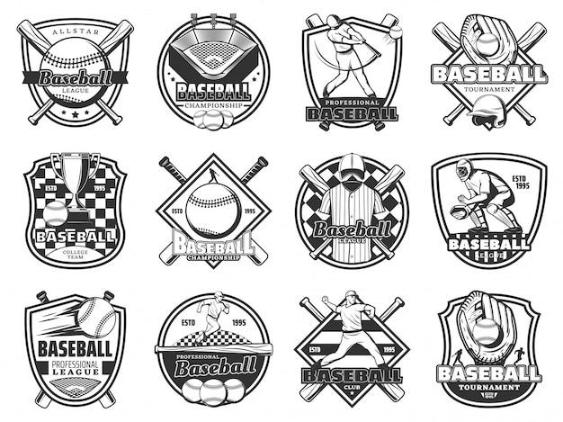 Значок бейсбольной спортивной команды, игра в софтбольную лигу Premium векторы