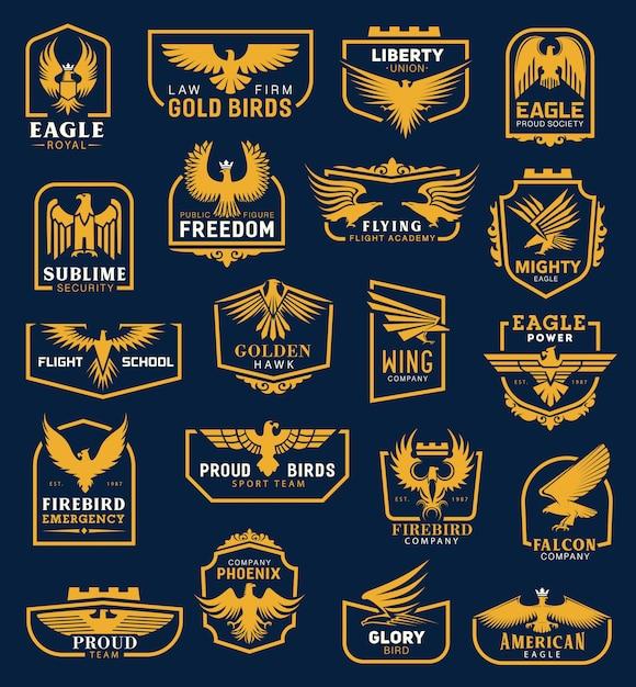 Иконы орла, геральдические значки, фирменный стиль Premium векторы