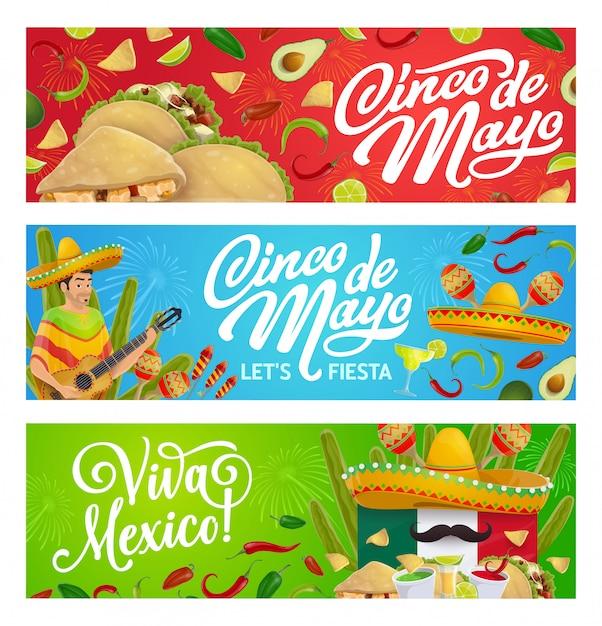 メキシコの休日の食べ物、ソンブレロ、ギター、マラカス Premiumベクター