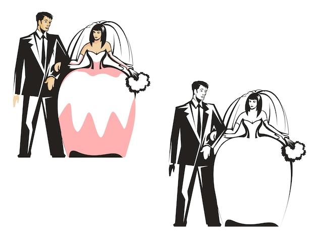 Жених и невеста Premium векторы