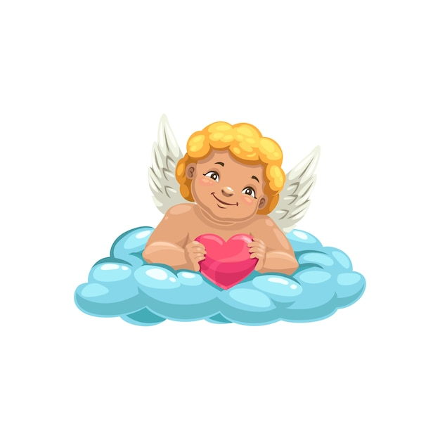 キューピッド、クラウド、翼のある少年の笑顔 Premiumベクター