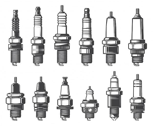 Типы автомобильных свечей зажигания, значки Premium векторы