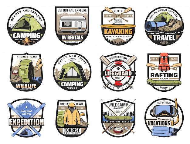 キャンプ、旅行、観光のスポーツ用品 Premiumベクター