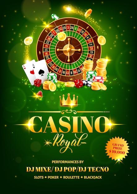 カジノギャンブルゲームのチラシ、ルーレット、チップ、サイコロ Premiumベクター