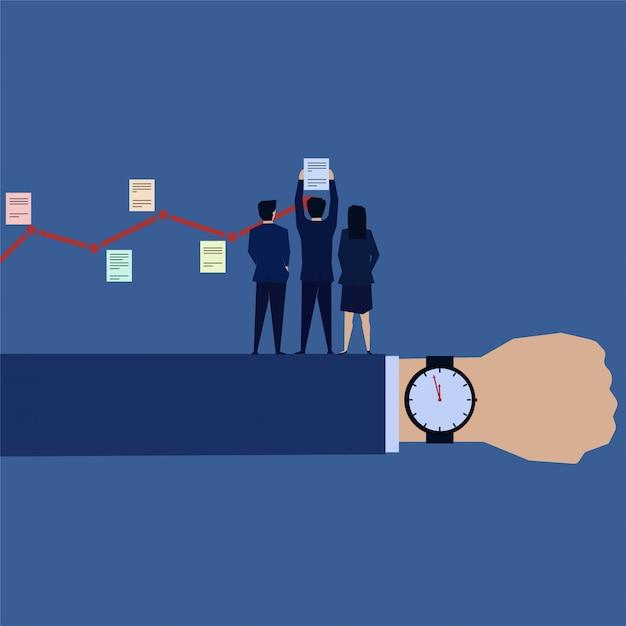 ビジネスチームはタスクスケジュールを時間とともに実行 Premiumベクター