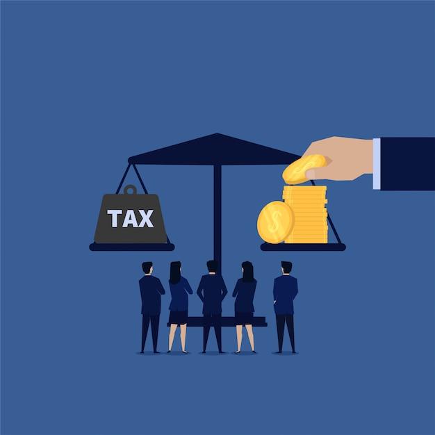 Бизнес баланс между доходами и налогами Premium векторы