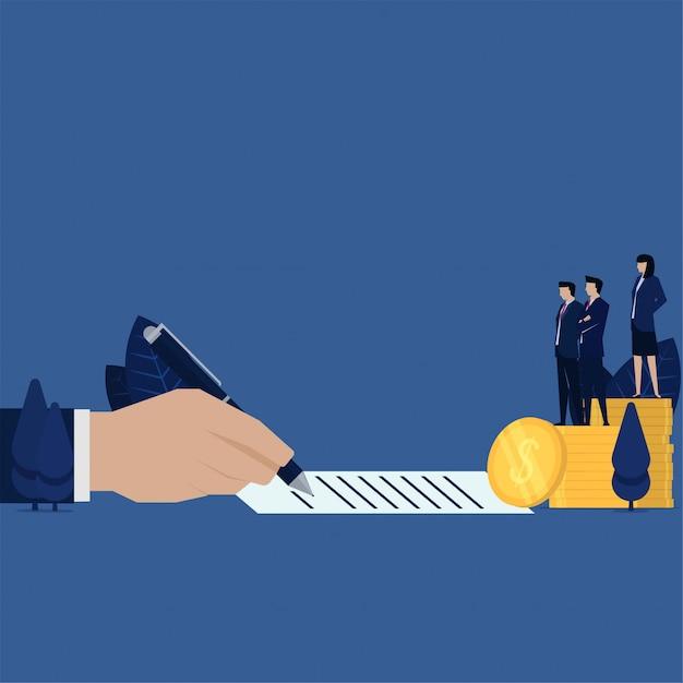 ビジネス手のお金の借金ローンや汚職の隠喩のための紙に署名します。 Premiumベクター