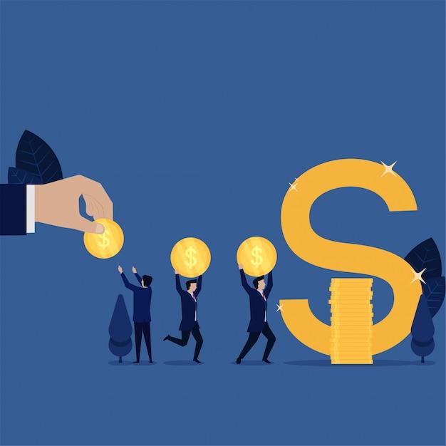 Команда дела делает кучу монет для того чтобы сделать метафору символа доллара сбережений. Premium векторы
