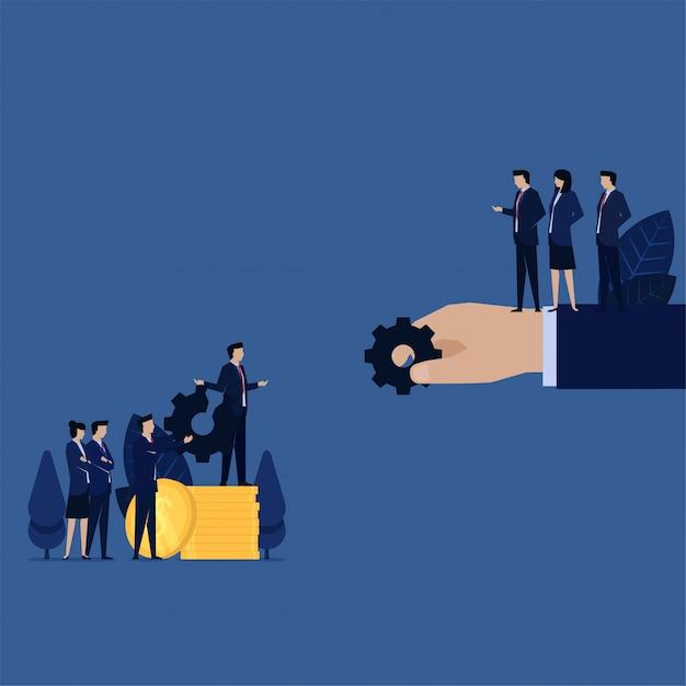 ビジネスチームは、故障した機材について保証とお金で苦情を言い交換します。 Premiumベクター