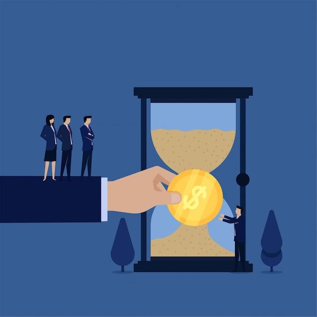 事業部長が砂の時の支払いをする時の比喩はお金です。 Premiumベクター