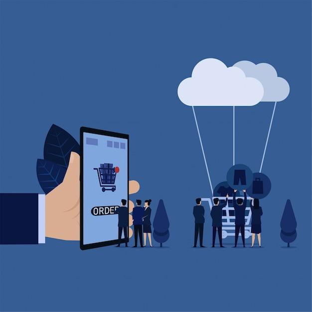 ビジネスマネージャーは携帯電話で注文をクリックしますが他のオンライン注文のクラウドの比喩に接続されているカートにジーンズ割引アイコンを置く。 Premiumベクター