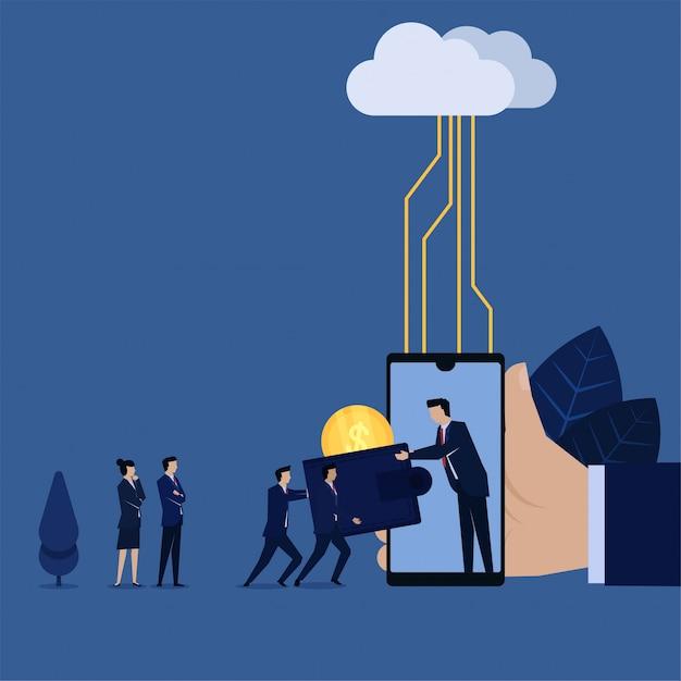 従来のウォレットからクラウドサーバーを使用したオンライン支払いへのビジネス移行。 Premiumベクター