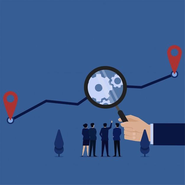 ビジネスフラットベクトル概念手は、プロセス分析のグラフのメタファーを拡大するために拡大を保持します。 Premiumベクター