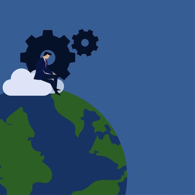 ビジネスフラットベクトル概念ビジネスマンは、グローバルアップデートのギアとグローブのメタファーとクラウド上で動作します。 Premiumベクター