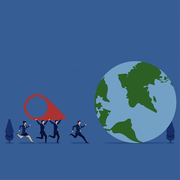 Команда концепции иллюстрации дела плоская приносит значок положения к метафоре глобуса мы движение. Premium векторы
