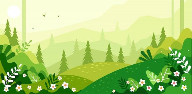 美しい緑の風景イラスト Premiumベクター