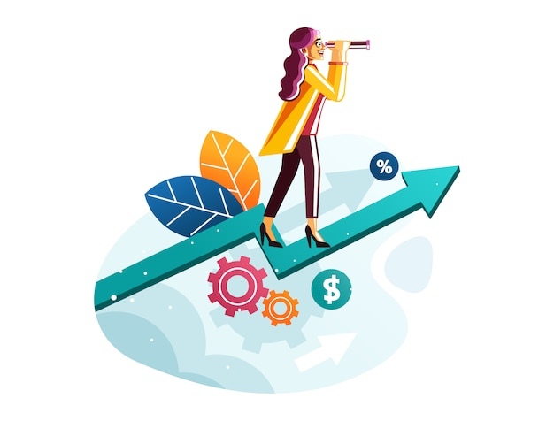 成長矢印グラフビジネスビジョンコンセプトの上に望遠鏡立っているビジネス女性 Premiumベクター