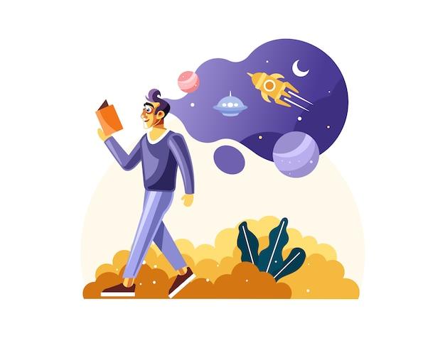宇宙科学の完全についての本を読んでいる人 Premiumベクター